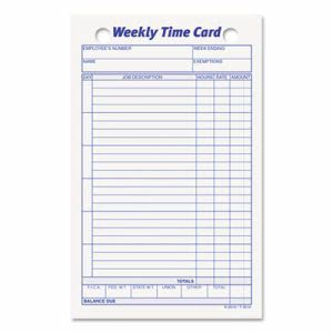 Tops Employee Time Card, Weekly, 4-1/4 x 6-3/4, 100/Pack (TOP3016)