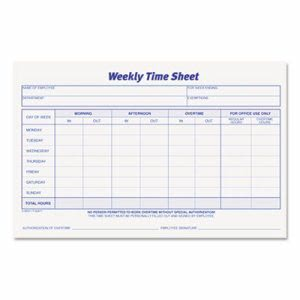 Tops Weekly Time Sheets, 5.5 x 8.5, White, 100 Sheets/Pad, 2 Pads (TOP30071)