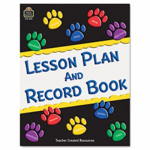 Teacher Created Paw Prints Lesson Plan & Record Book With Monthly Planner, 160 Pages (TCR2551)