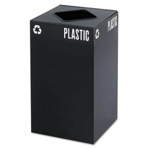 Safco Public Square Recycling Container, Square, Steel, 25gal, Black (SAF2981BL)