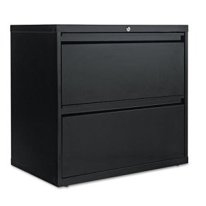 Alera Two-Drawer Lateral File Cabinet, 30w x 19-1/4d x 29h, Black (ALELF3029BL)