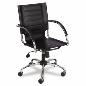 Safco Flaunt Series Mid-Back Manager's Chair, Black Leather/Chrome (SAF3456BL)
