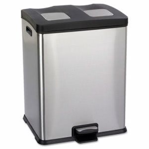 Safco Recycling 15 Gallon Station, Plastic, Stainless/Black (SAF9634SS)