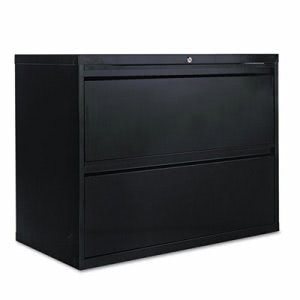 Alera Two-Drawer Lateral File Cabinet, 36w x 19-1/4d x 29h, Black (ALELF3629BL)