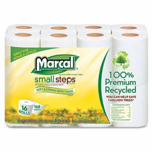 Marcal 100% Premium Recycled 2-Ply Toilet Tissue, 16 Rolls (MRC1646616PK)