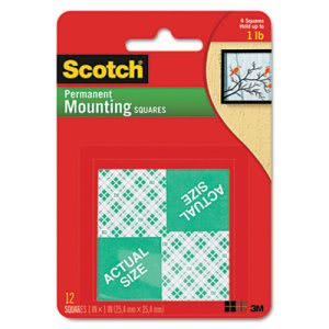 "Scotch Pre-Cut Foam Mounting 1"" Squares, Double-Sided, 16 Squares (MMM111)"