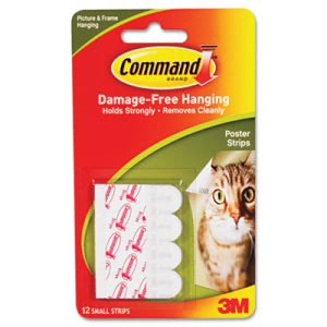 Command Poster Strips, White, 12 Strips/Pack (MMM17024)