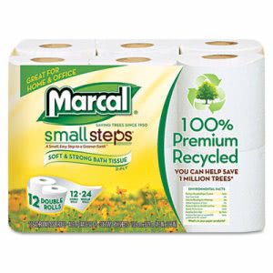 Marcal Small Steps 100% Recycled Double Roll Toilet Paper, 12 Rolls (MRC6112)