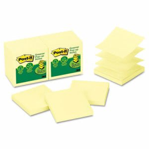 Post-it Recycled Pop-Up Notes Refill, 3 x 3, Yellow, 12 Pads (MMMR330RP12YW)