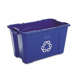 Rubbermaid 571873 Stacking 18 Gallon Recycle Bin, Blue (RCP571873BE)