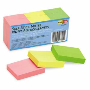 Redi-tag Self-Stick Notes, 1 1/2 x 2, Neon, 12 100-Sheet Pads/Pack (RTG23701)
