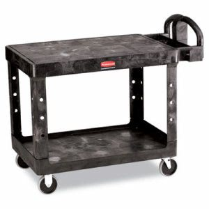 Rubbermaid 4525 Flat 2-Shelf Utility Cart, Medium, Black (RCP452500BK)
