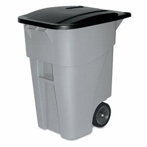 Rubbermaid 9W27 Brute 50 Gallon Rollout Trash Can With Lid, Gray (RCP9W27GY)
