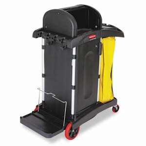Rubbermaid High Security Microfiber Cleaning Cart w/Vinyl Bag, Blk (RCP9T7500BK)