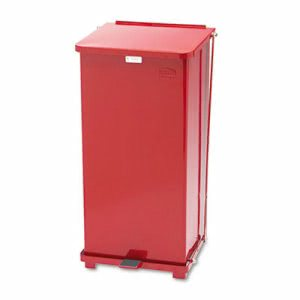 Rubbermaid ST24EPL Defenders 24 Gallon Biohazard Step Can, Red (RCPST24EPLRD)