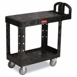 Rubbermaid 4505 Flat 2-Shelf Utility Cart, Small, Black (RCP 4505 BLA)