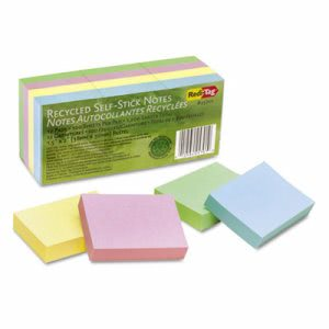 Redi-tag 100% Recycled Notes, 1-1/2 x 2, Four Pastel Colors, 12 Pads (RTG25701)