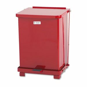 Rubbermaid Defenders Biohazard Step Can, Square, Steel, 7 gal, Red (RCPST7ERDPL)