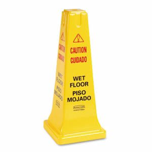 Rubbermaid 4-Sided Wet Floor Safety Cone, Yellow (RCP627777)