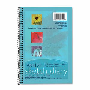 "Pacon Art1st Sketch Diary, 9"" x 6"", White, 70 Sheets/Pad (PAC4790)"
