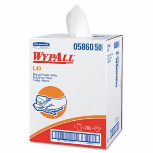 Wypall L40 Dry-Up Bath Sized Towels, 200 White Towels (KCC05860)