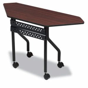 OfficeWorks Mobile Training Table, Trapezoid, 48 x 18 x 29, Mahogany (ICE68078)