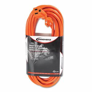 Innovera Indoor/Outdoor Extension Cord, 25 Feet, Orange (IVR72225)
