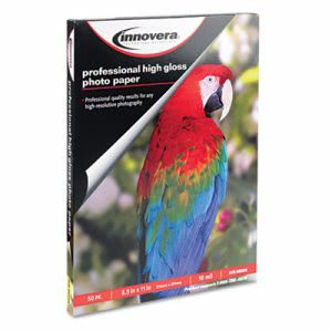 Innovera High-Gloss Photo Paper, 8-1/2 x 11, 50 Sheets/Pack (IVR99550)