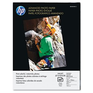 Hp Advanced Photo Paper, 56 lbs., Glossy, 5 x 7, 60 Sheets/Pack (HEWQ8690A)