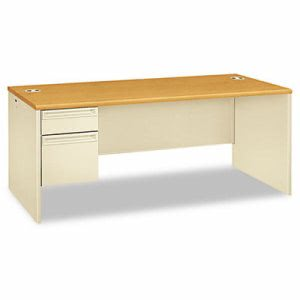 Hon 38000 Series Left Pedestal Desk, 72w x 36d x 29-1/2h, Harvest/Putty (HON38294LCL)