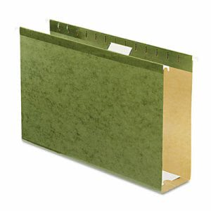 "Pendaflex 3"" Extra Capacity Hanging Folders, Legal, Green, 25/Box (PFX4153X3)"