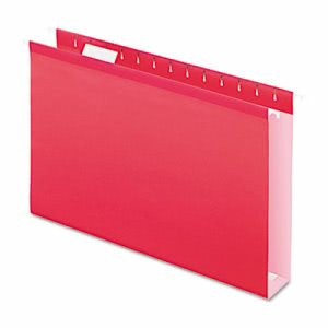 "Pendaflex 2"" Extra Capacity Hanging Folders, Legal, Red, 25/Box (PFX4153X2RED)"