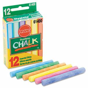 Prang Hygieia Dustless Board Chalk, 3 1/4 x 3/8. Assorted, 12/Box (DIX61400)