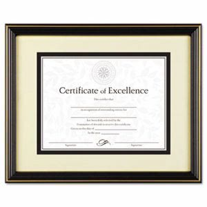 Dax Gold-Trimmed Document Frame w/Certificate, Wood, Black (DAXN2709S6T)
