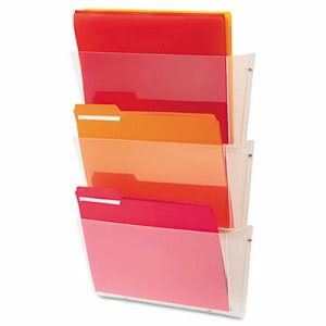 Deflect-o Unbreakable Wall File Set, Letter, Three Pocket, Clear (DEF63601RT)