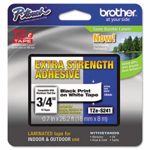 Brother P-Touch TZe Extra-Strength Labeling Tape, Black on White (BRTTZES241)