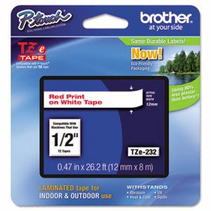 Brother P-touch Adhesive Laminated Labeling Tape, 1/2w, Red on White (BRTTZE232)