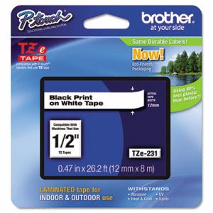Brother Adhesive Laminated Labeling Tape, 1/2w, Black on White (BRTTZE231)