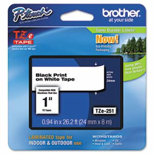 Brother P-touch Adhesive Laminated Labeling Tape, 1w, Black on White (BRTTZE251)
