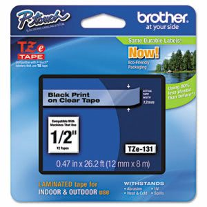 Brother Adhesive Laminated Labeling Tape, 1/2w, Black on Clear (BRTTZE131)