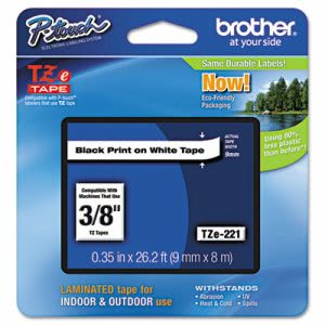 Brother P-touch Adhesive Laminated Labeling Tape, Black on White (BRTTZE221)