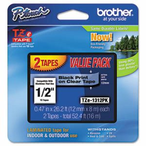 Brother Adhesive Labeling Tapes, Black on Clear, 2 per Pack (BRTTZE1312PK)
