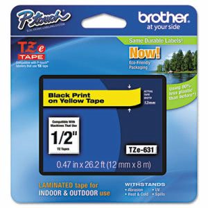 Brother Adhesive Laminated Labeling Tape, 1/2w, Black on Yellow (BRTTZE631)