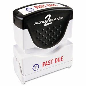 Accustamp2 Accustamp2 Shutter Stamp with Microban, Red/Blue, PAST DUE 1 5/8 x 1/2 (COS035543)