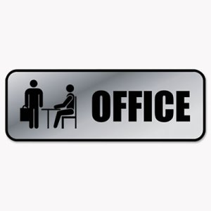 Cosco Brushed Metal Office Sign, Office, 9 x 3, Silver (COS098209)