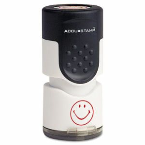 Accustamp Pre-Inked Smiley Round Stamp with Microban, Red (COS030725)