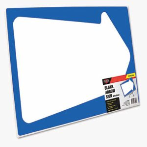 Cosco Stake Sign, Blank White with Printed Blue Arrow, 15 x 19 (COS098226)
