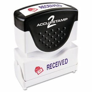 Accustamp2 Shutter Stamp with Microban, Red/Blue, RECEIVED (COS035537)
