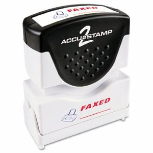 "Accustamp2 ""Faxed"" Shutter Stamp with Microban, Red/Blue (COS035533)"