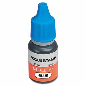 Cosco ACCU-STAMP Gel Ink Refill, Blue, 0.35 oz Bottle (COS090682)
